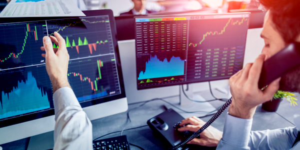 Business team investment trading on a stock exchange